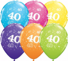 40th Birthday - 11 Inch Balloons 25pcs